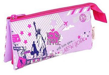 "HELIX PENCIL CASE GIRLS PINK ""CITY SIGHTS"" TRIPPLE POCKET - 3 POCKET"